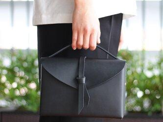 2way box bag slim / 2way レザーボックスバッグ スリム #黒色の画像