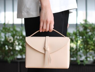 2way box bag slim #beige / 2way レザーボックスバッグ スリム #ベージュの画像