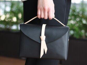 2way box bag slim #BLKxBEG/ 2way レザーボックスバッグ スリム #黒xベージュの画像