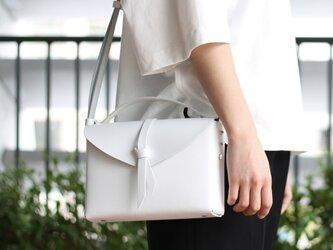 2way box bag slim #white/ 2way レザーボックスバッグ スリム #ホワイトの画像