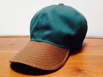 『特別ご注文品』 ツイル織 ツバ長大きめキャップGreen/Brown(65cm)の画像