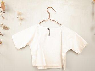 80cm : コットン五分袖Tシャツ (ライトグレー)for boy and girlの画像