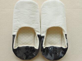 ルームシューズ バブーシュ モノトーン ツートンカラー ホワイト ブラック コットン Bの画像