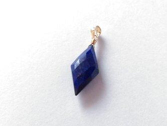 ラピスラズリのネックレスチャーム/ダイヤカット(14KGF)の画像