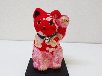 """一閑張り張子  """"招き赤猫""""の画像"""