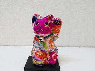 """一閑張り張子  """"招きピンク猫""""の画像"""