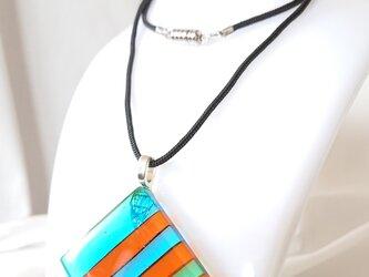 ベネチアンガラスのフュージングペンダント 「Stripes」の画像
