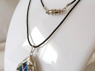 ベネチアンガラスのフュージングペンダント 「Wire wraped」の画像