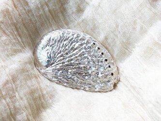 SV925銀製 大きな貝殻小物入れ皿 大粒ペリドット(コンケイブカット) トレー ペーパーウェイト 銀塊シェルの画像