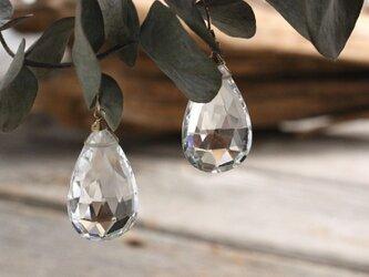 Brazilian Clear Quartz Drop earrings クリアクォーツのドロップピアス 14KGFの画像