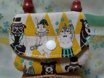 【手縫い】てのひらパース☆カードポケット付☆黄色サーカス団☆ミニポーチの画像