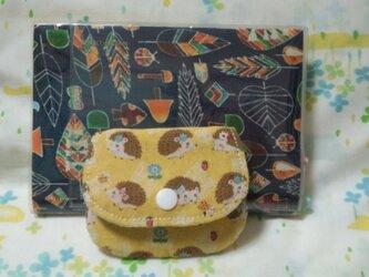 【手縫い】てのひらパースポケット付☆はりねずみ柄☆黄色☆コインケース・ミニポーチの画像
