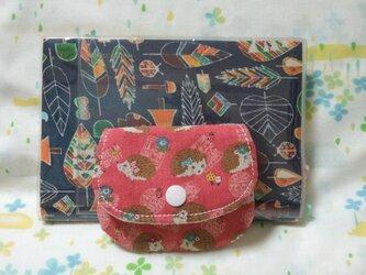 【手縫い】てのひらパースポケット付☆はりねずみ柄☆濃桃色☆コインケース・ミニポーチの画像