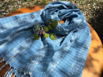 手紡ぎ和綿糸を使った自然素材のストールの画像