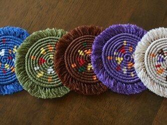 漂白剤が使えるマクラメ編み ハートもあるよ♪コースター 5種類の色での画像