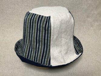 遠州綿紬のリバーシブルクロッシェ 草木×紺の画像