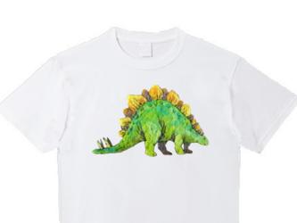 受注プリント全3色☆Tシャツ「フェルト刺繍のステゴザウルス」オリジナルデザイン☆大人/女性/子供 全てのサイズ対応の画像