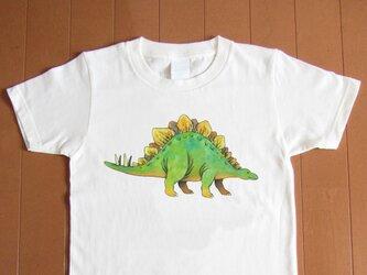 受注プリント全4色☆Tシャツ「恐竜 ステゴザウルス」オリジナルデザイン☆大人から子供まで全てのサイズ対応 きょうりゅうの画像