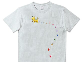 受注プリント全3色☆Tシャツ「おさんぽ犬とカラフル足あと」オリジナルデザイン☆大人から子供まで全てのサイズ対応の画像