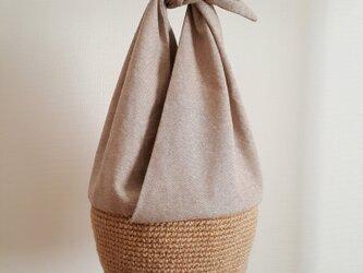 コウノトリバッグ M Cotton Linen ベージュ 【受注制作】の画像