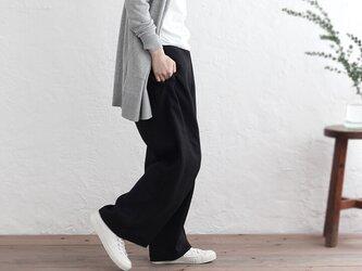 厚手リネン ワイドパンツ バギー ベルトループ付(ブラック)の画像