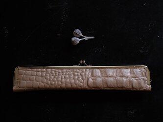 紳士用扇子ケース/24cm/クロコ型押し象牙色の画像