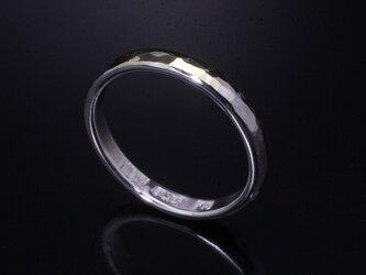 指輪 メンズ レディース : 甲丸 丸 鎚目 シルバー リング 3mm幅 シルバー×K18 14~26号 シンプル ペアリングの画像