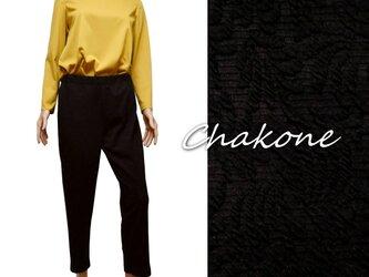 【パンツ】ゆったりストレッチ・パンツ(L/ウエストゴム紐) ブラック ジャガード(地模様)の画像