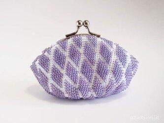 ビーズ編みがま口【藤色】模様編みの画像