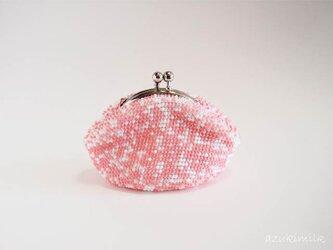 ビーズ編みがま口【フラミンゴピンク】の画像