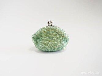 ビーズ編みがま口【ミントグリーン】の画像