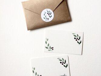 オリーブの水彩画のメッセージカード サンキューカード 20枚の画像