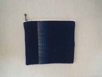 手織りポーチ 藍・1の画像