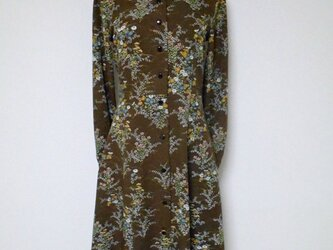レトロ小紋の開襟シャツワンピース Open collar Shirt dress LO-159/Mの画像