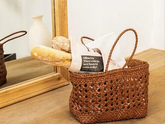 【受注製作】手編み牛革ショルダトートバッグしっかりとした編み込み FB3049 インナーバッグ付きの画像
