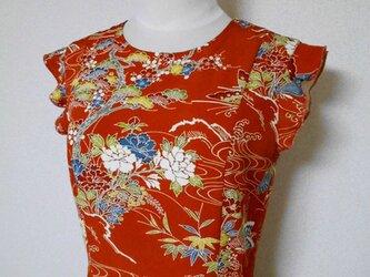 レトロ小紋のラッフルスリーブフレアワンピース Kimono dress LO-163/Mの画像