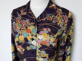 レトロ小紋の開襟シャツワンピース Open collar Shirt dress LO-161/Mの画像