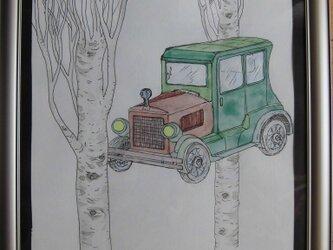 柏陽(ポプラ)と緑のT型フォードの画像