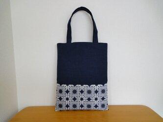 ぺたんこトートバッグ*藍色の画像