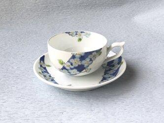 紅茶碗皿   紫陽花ブルー  縁 ブルー銀彩仕上げの画像