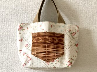 新作★reversible mini tote bag【rose】の画像