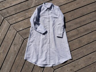 linen/cotton shirt onepiece  播州織 シャツワンピースの画像
