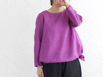 リネン サイドリボン 長袖プルオーバーブラウス (パープルピンク)の画像