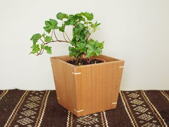 木製 鉢カバー クルミ材1 4号鉢用 植木鉢カバーの画像