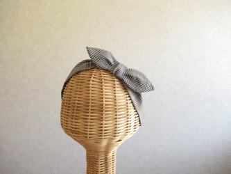 リボンのヘアバンド コットンリネン、グレンチェックの画像