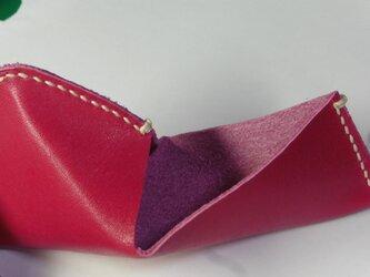 牛革★濃いピンクの三角ボックスの画像