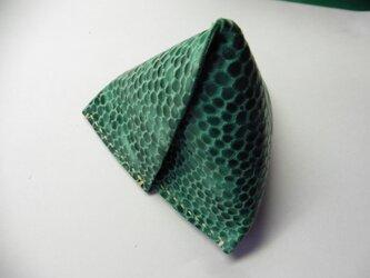 羊革★グリーンの三角ボックスの画像