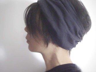 ターバンなヘアバンド リネンネイビー 送料無料の画像
