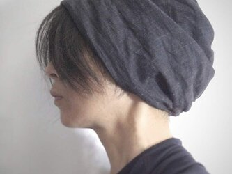 ターバンな帽子 デニムリネン+ネイビー 送料無料の画像