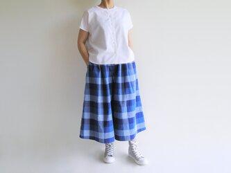 播州織コットン*空の色のキュロットスカートの画像